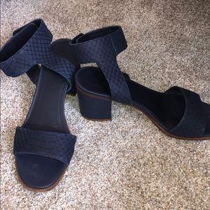 Vince navy block heels.